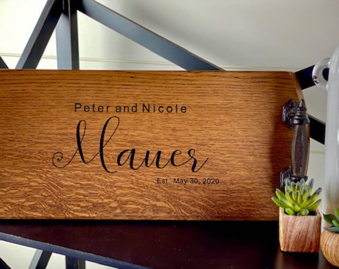 Personalized Bourbon Barrel Serving Tray Cheese Board Wine Barrel Wedding Gift Engagement Gift Bridal Shower Gift Wood Tray With Handles