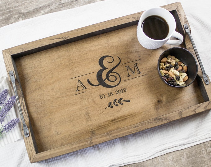 Bourbon Barrel Serving Tray With Handles Personalized Wedding Gift Ottoman Tray Monogramed Personalized Serving Platter Breakfast Tray