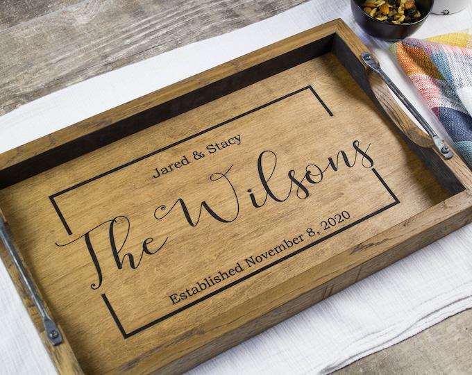 Personalized bourbon barrel head serving tray Personalized wine barrel tray wedding gift Personalized wood tray