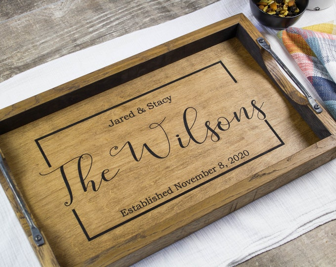 Wooden serving tray with handles, Decorative tea tray, Personalized family name sign, Custom cheese board