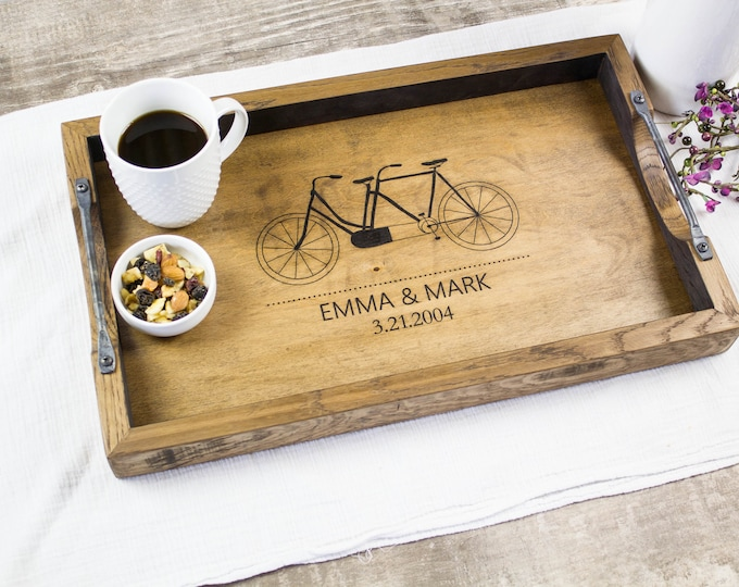 Personalized wedding gift serving tray for couple, Anniversary gift, Engagement gift