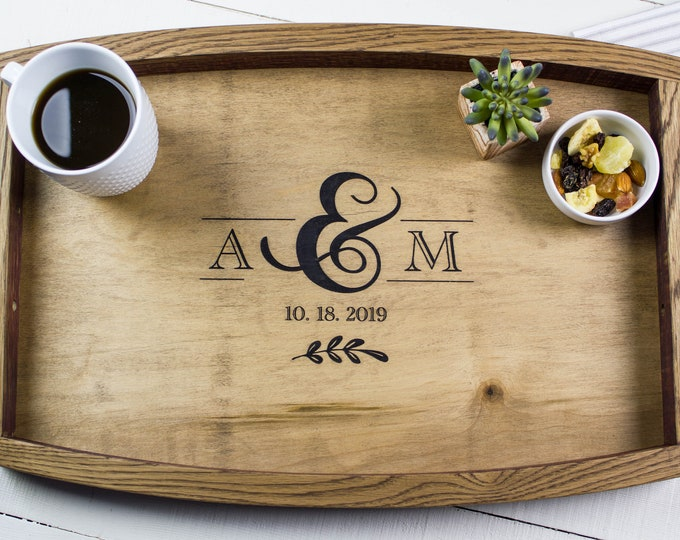 Engagement Gift for Couple, Personalized Wedding Gift, Wooden Tray, Coffee Table Tray, Serving Tray, Charcuterie Board, Rustic Wedding Gift