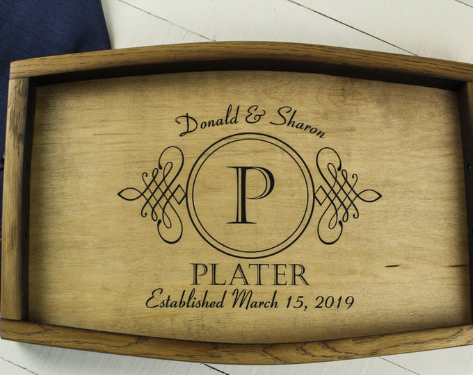 Personalized wine barrel serving tray, wedding gift, anniversary gift, housewarming gift, rustic home decor, engraved tray wood tray handles