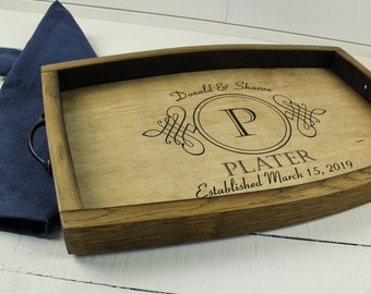 Personalized wine barrel serving tray, Wedding gift, Anniversary gift, Housewarming gift, Charcuterie Board, Engraved tray Wood tray handles
