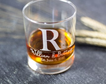 Whiskey Glass, Custom Whiskey Glass, Bourbon Glass, Bridal Shower Gift, Low Ball Glass, Groomsmen Gift, Wedding Gift for Couple,Personalized