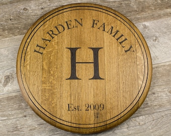 Personalized Custom Engraved Wine Barrel Lazy Susan, Wall Mount, Monogram, Personalized Gift, Wedding Present, guest book, wine barrel sign