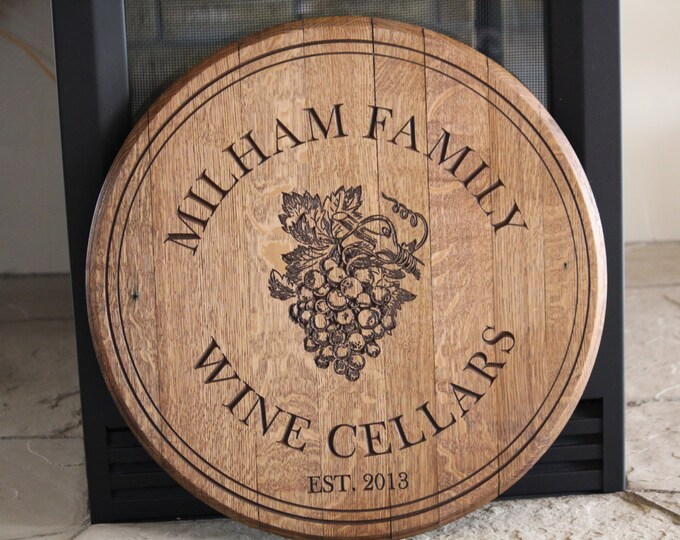 Personalized wine barrel sign / Established sign / Wood lazy susan / Last name sign / Family name sign / Housewarming gift / Wine cellar