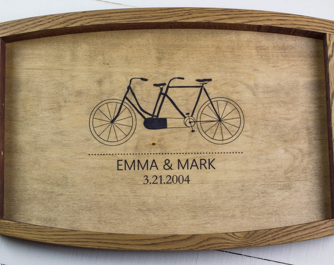 Personalized Wood Serving Tray, Engagement Gift for Couple, Wedding Showing Gift, Anniversary Gift