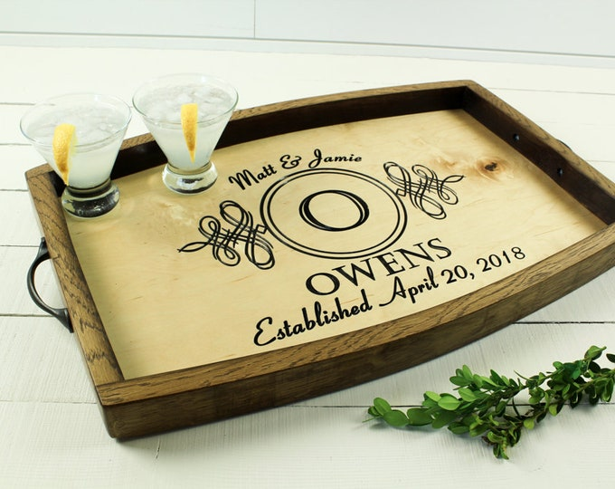 Personalized serving tray wine barrel wedding welcome sign wedding gift engagement gift anniversary gift wood serving tray housewarming gift