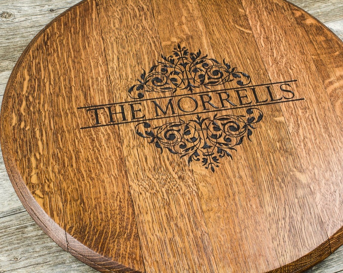 Wedding, Custom Personalized Engraved Wine Barrel Lazy Susan - Gift, Christmas, Anniversary Gift, Housewarming, Personalized Gift