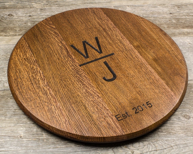 Personalized Wine Barrel Lazy Susan or Wall Mount - Wedding Gift, Brand Gift, Anniversary Gift, Monogram