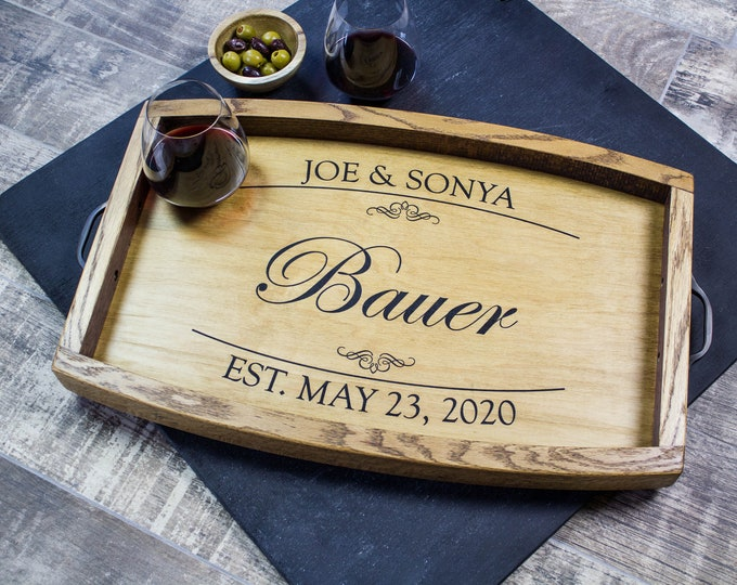 Personalized Wine Barrel Serving Tray Personalized Wedding Gift Ottoman Tray Wine Gift Bridal Shower Gift Wood Tray Charcuterie Board