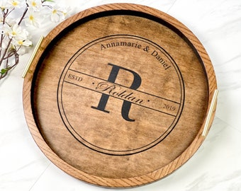 Personalized wood tray with handles, Wedding gift charcuterie board, Serving platter anniversary gift