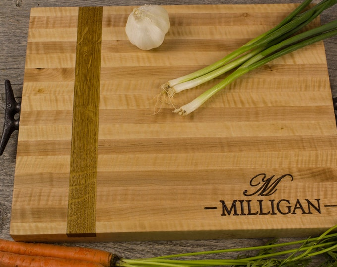 Personalized Engraved Cutting Board Wine Barrel French Oak & Maple Side Grain With Reclaimed Dock Cleat Handles- Housewarming Gift