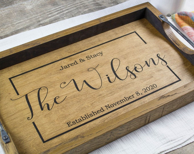 Personalized Mothers Day gift for kitchen Bourbon barrel serving tray Wood tray anniversary gift Ottoman tray