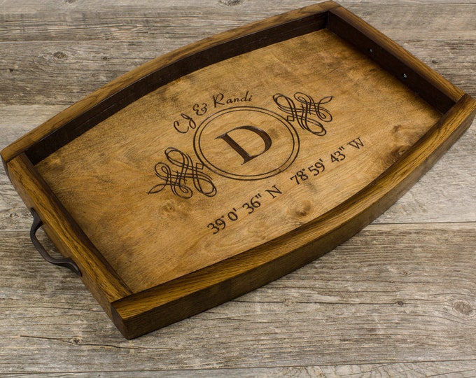Personalized Wine Stave Serving Tray - Custom Coordinates, Wedding Gift, Bridal Shower Gift, Anniversary Gift, Monogram