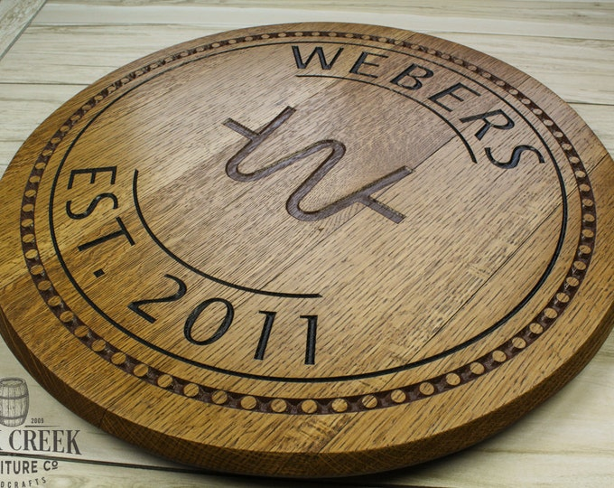 Personalized barrel head sign, engraved barrel, wedding gift, barrel top, custom engraved, bourbon barrel head, wine barrel, lazy susan