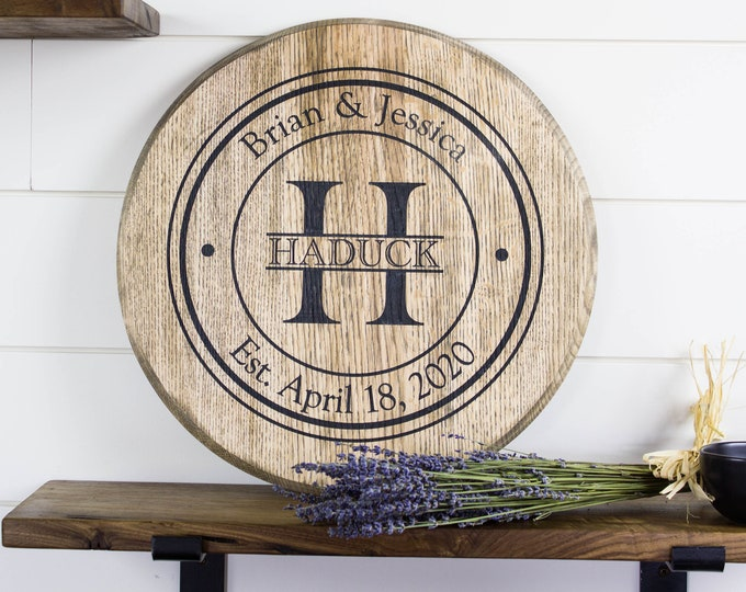 Family Name Sign Wood Mothers Day Gift Anniversary Gift for Parents Housewarming Gift Kitchen Lazy Susan Bourbon Barrel Head
