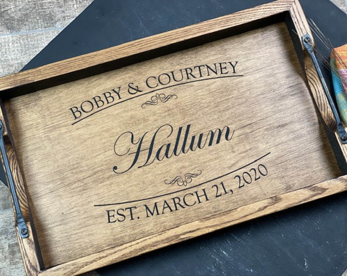 Personalized bourbon barrel head serving tray with handles, Wedding gift for couple,  Wooden tray