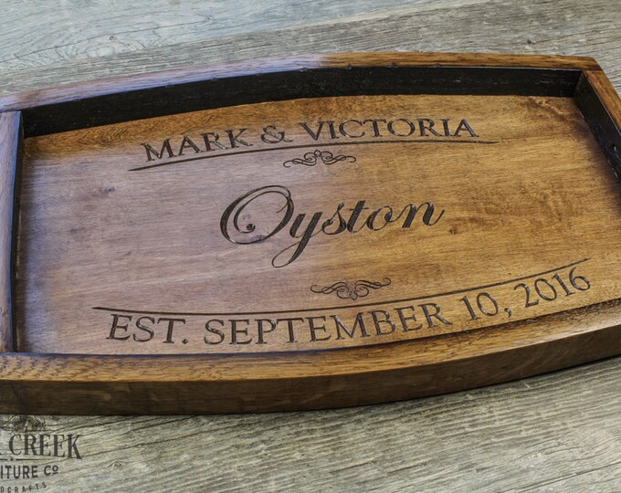 Personalized Wine Barrel Serving Tray Personalized Wedding Gift Ottoman Tray Wine Gift Bridal Shower Gift Wood Tray Custom Serving Tray