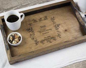 Personalized anniversary gift, Serving tray with handles, Housewarming gift, Hostess gift, First home gift
