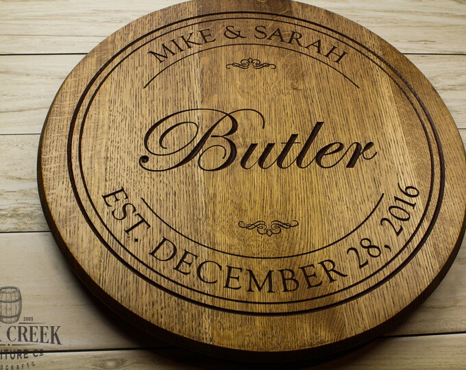 Personalized engraved Wine Barrel Lazy Susan, custom engraved, barrel head, Wedding gift, Anniversary gift, bourbon barrel, Bridal shower