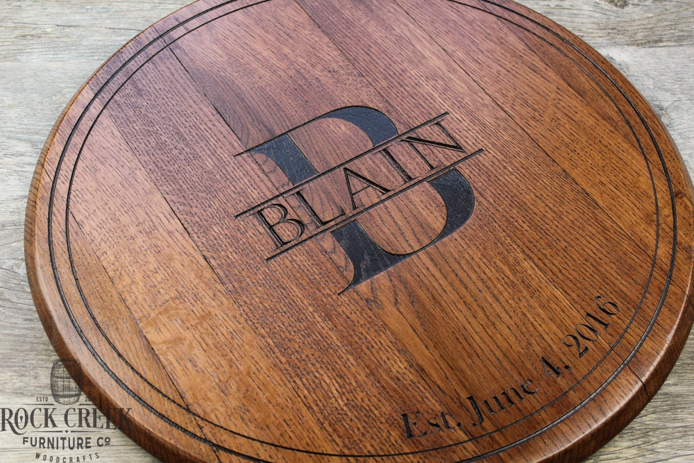 wedding guest book bourbon barrel head personalized gift etsy. Black Bedroom Furniture Sets. Home Design Ideas