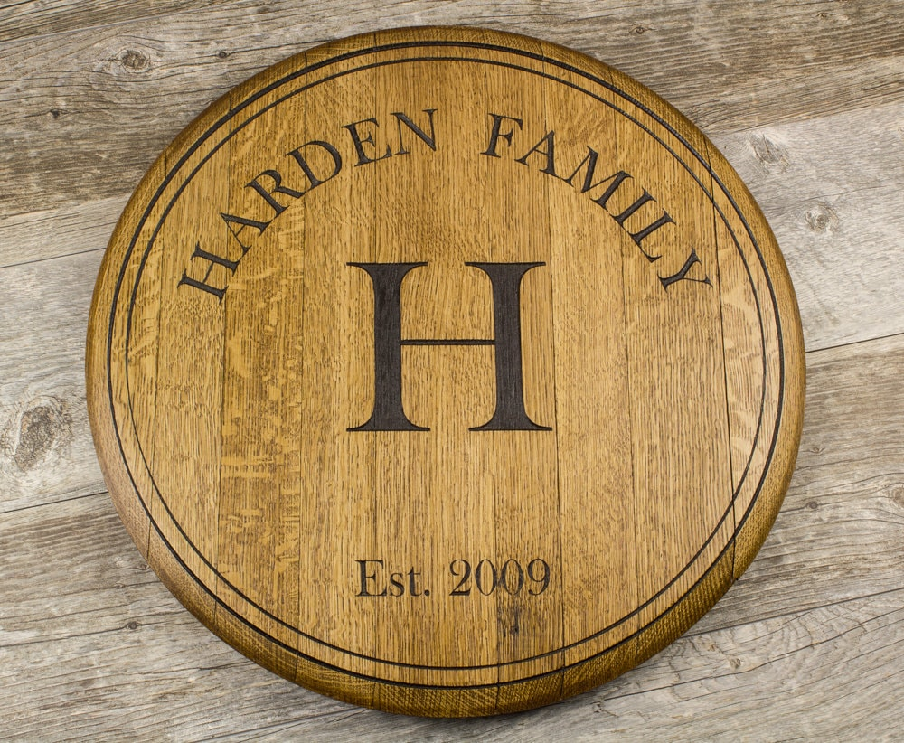 Personalized Custom Engraved Wine Barrel Lazy Susan Wall Mount