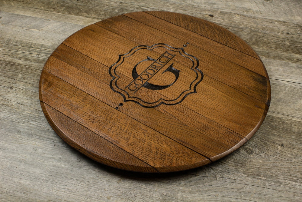 Custom Personalized Engraved Wine Barrel Head Lazy Susan Wedding