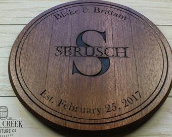 Bourbon barrel head, personalized gift, engraved barrel, wedding gift, anniversary gift,wine barrel, whiskey barrel, barrel top, lazy susan