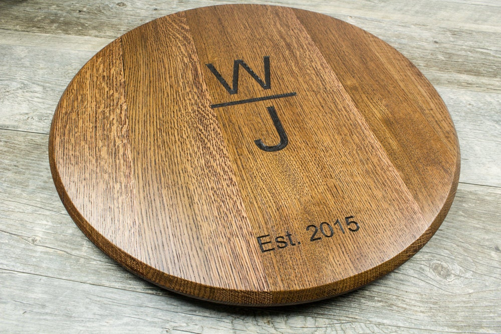Personalized Wine Barrel Lazy Susan Or Wall Mount Wedding Gift