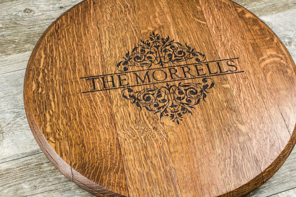 Wedding Custom Personalized Engraved Wine Barrel Lazy Susan Gift