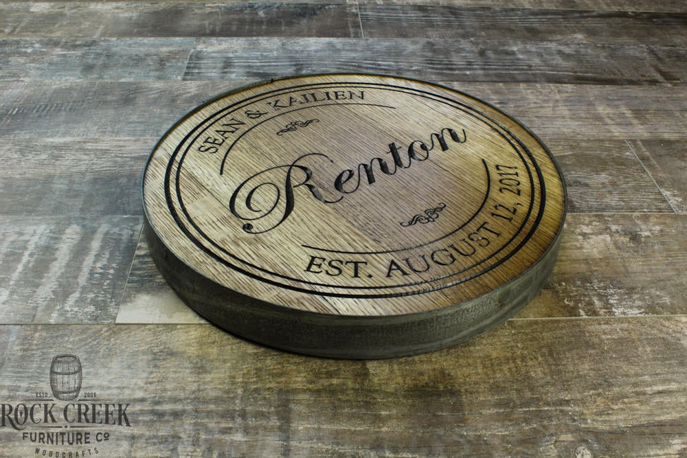 Personalized Engraved Wine Barrel Head Lazy Susan Personalized Gift