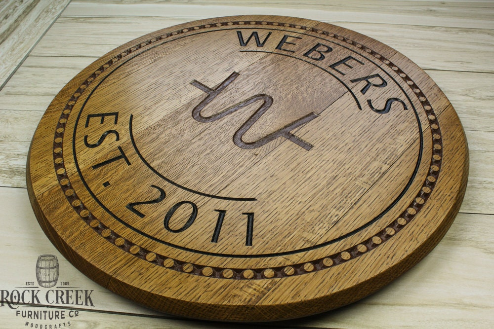Personalized Barrel Head Sign Engraved Barrel Wedding Gift Barrel