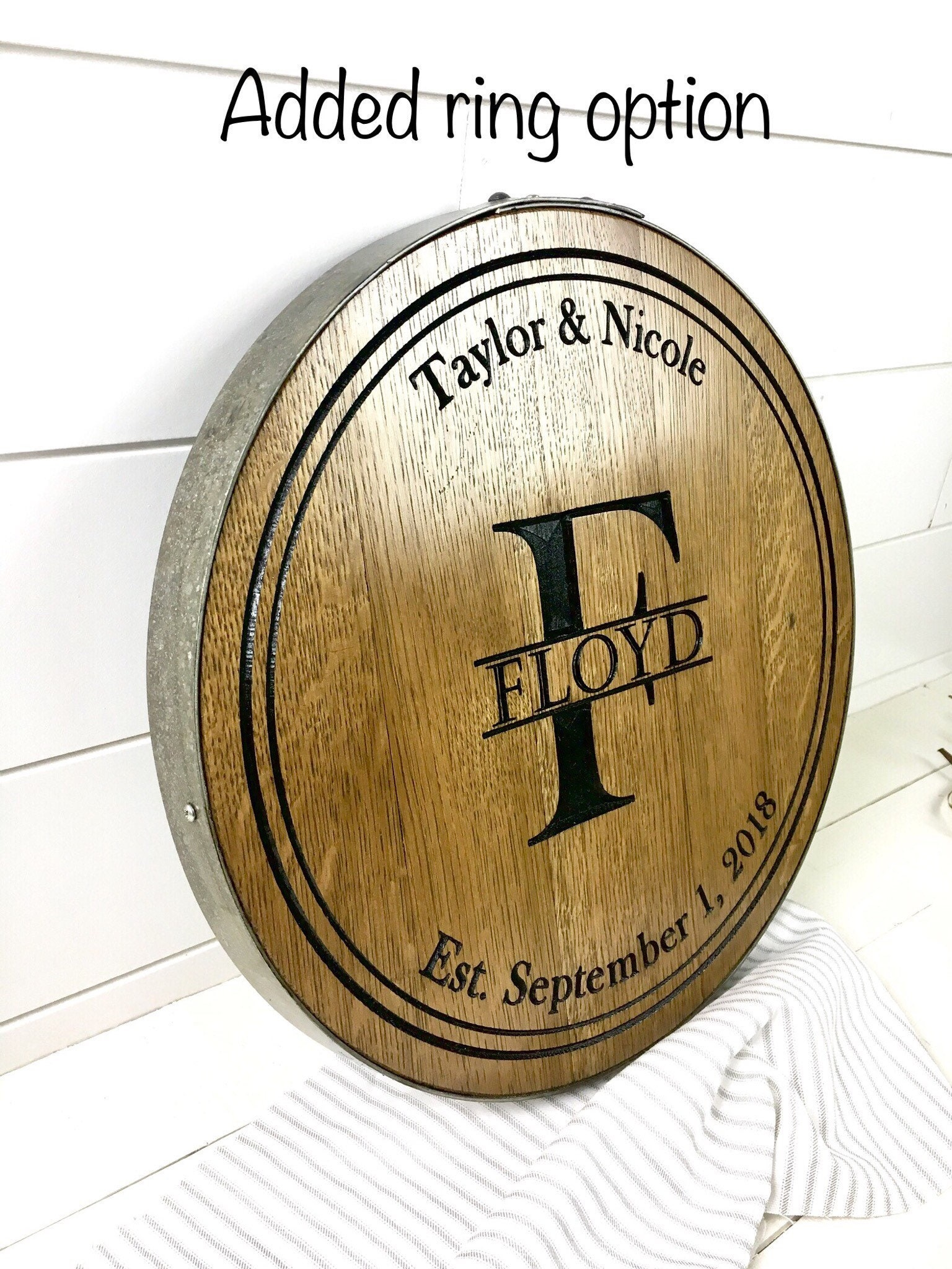 Bourbon Barrel Head Personalized Gift Engraved Barrel Wedding