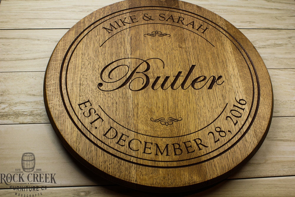 Personalized Engraved Wine Barrel Lazy Susan Custom Engraved