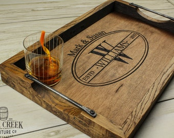 Personalized bourbon barrel head serving tray, wine barrel tray, personalized wedding gift, personalized wood tray, monogrammed tray