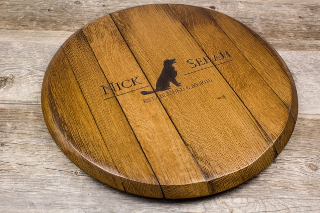 Personalized Custom Engraved Wine Barrel Lazy Susan Personalized