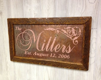 7th Anniversary Gift, wedding gifts for couple, Wedding gifts personalized, 7th Anniversary gift for him, Last name established sign