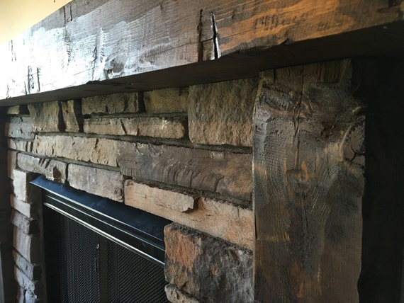 Wooden Mantel Fireplace Surround Hand Hewn Mantel Rough Etsy