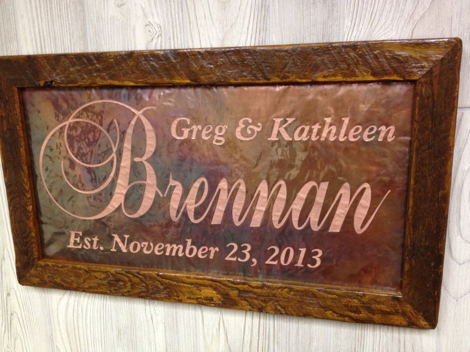Monogrammed Wedding Gift: Personalized Wedding Gift Custom Name Sign 7th Anniversary