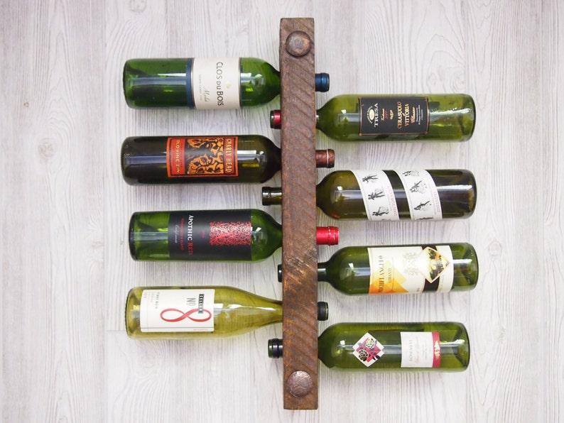 Wood Wine Rack Wine Rack Wall Mounted Unique Wedding Gift image 0