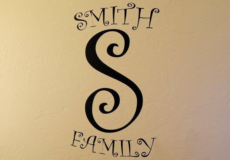 Whimsical Family Initial  Wall Decal image 0