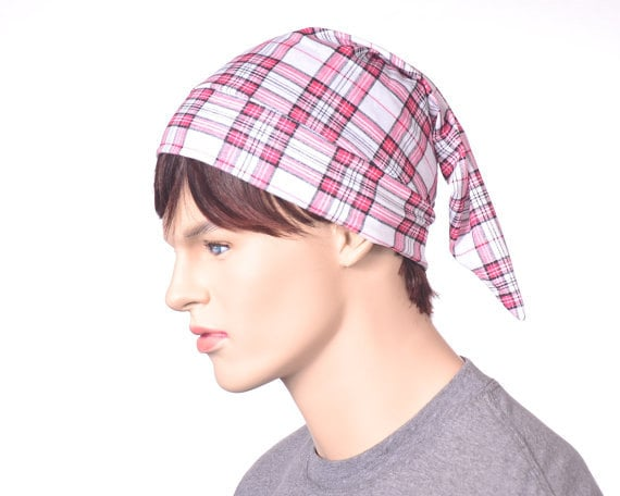 8f457449d4 Tartan Sleep Hat Plaid White Red Black Lightweight Nightcap