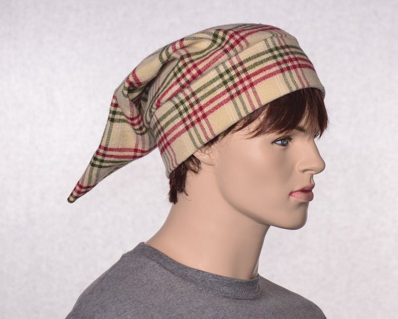 3859e7704e Traditional Nightcap Plaid Red Green Tan Pointed Sleep Hat Victorian Cotton  Flannel Night Cap Poor Poet