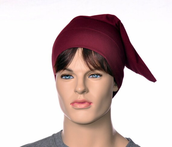 Pointed Sleep Cap Nightcap Burgundy Sleeping Hat Victorian  bf4936e951ca