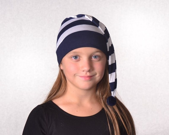 Nightcap Navy Blue White Stripes Pirate Night Cap Costume Hat  226cce8ce79