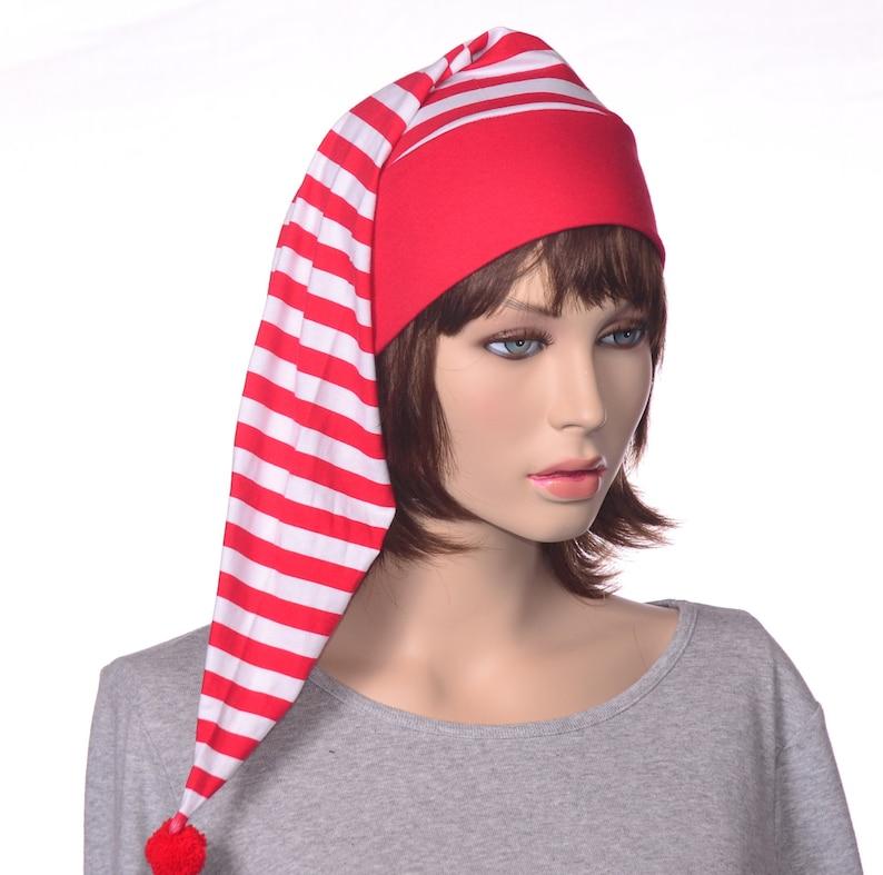 Nightcap Red White Stripes Night Cap Sleeping Hat Men Women  eb8ca2e36