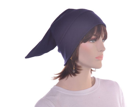 Pointed Sleep Cap Nightcap Navy Blue Sleeping Hat Victorian  6c48e87e3c69