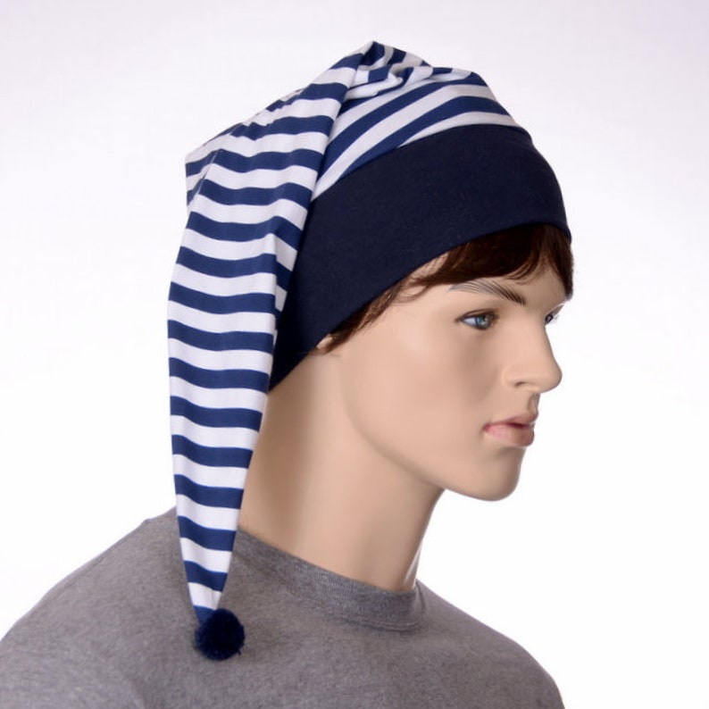 8e4f8adbf1 Navy Blue White Striped Night Cap Sleep Hat Steampunk Night